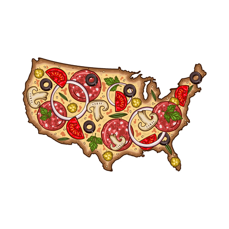 Cartoon vector pizza. Map of USA in the form of pizza. Pizza in the form of a map of USA.