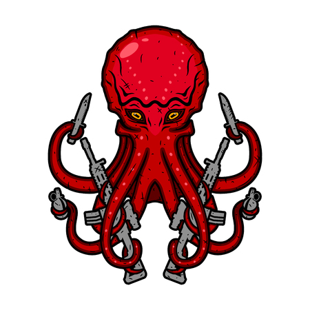 Octopus with guns. Devilfish with weapons. Vector illustration.