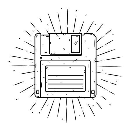 Hand drawn vector illustration with Floppy disk and divergent rays. Used for poster, banner, web, t-shirt print, bag print, badges, flyer, logo design and more. Logo