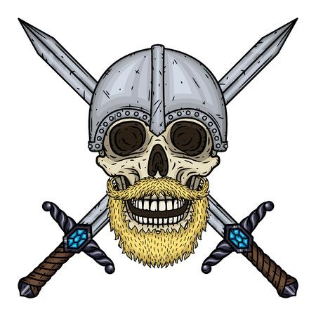 Skull with beard, crossed swords and helmet. Cartoon skull. Vector hand draw illustration.