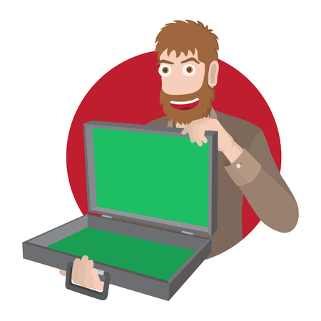 Businessman with open an empty suitcase. Vector Illustration.