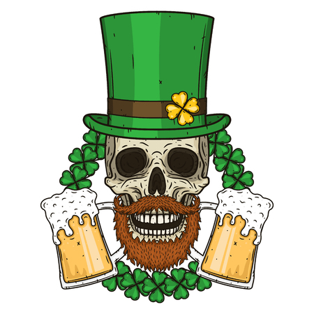 The skull of Saint Patricks with green hat and clover leaves. Irish skull. St.Patrick skull vector.
