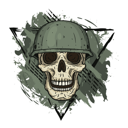 The skull in the helmet. Dead soldier.