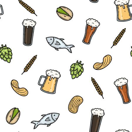 Vector cartoon seamless beer pattern. Vector Illustration.