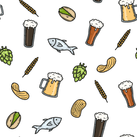 Vector cartoon seamless beer pattern. Vector Illustration.