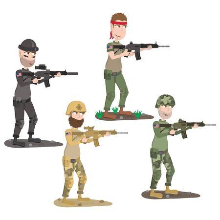 Set of cartoon soldiers