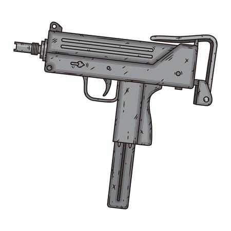 Uzi, isolated on white background. Hand drawn vector illustration.