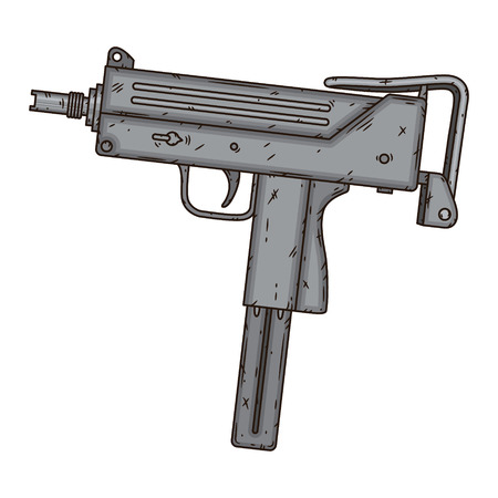 Uzi, isolated on white background. Hand drawn vector illustration.