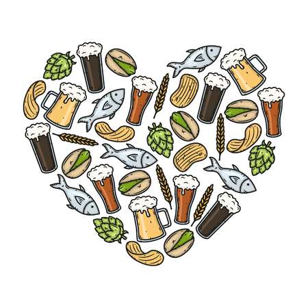 Beer icons in heart shape. Vector Illustration.