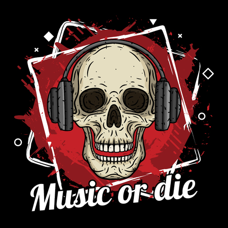 ヘッドフォン、グランジの背景とスローガン音楽や死ぬと頭蓋骨。