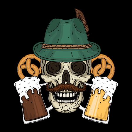 Vector illustration of oktoberfest. Skull in Tyrolean hat, with pretzels and glasses of beer.
