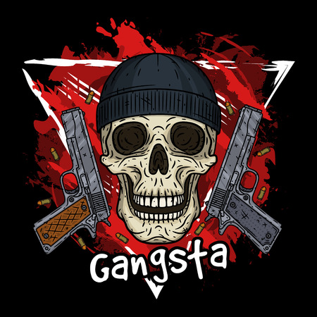 Skull. Vector illustration of human skull with black hat and two pistols. Cartoon skull Vectores