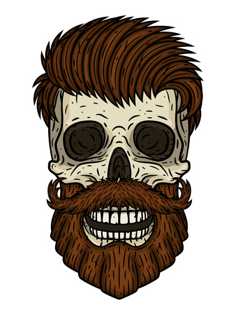 Skull. Bearded skull. Vector illustration of human skull with beard and mustache. Иллюстрация
