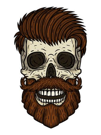 Skull. Bearded skull. Vector illustration of human skull with beard and mustache. Illustration