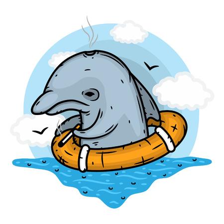 Sad Dolphin with life buoy. Vector illustration