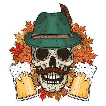 Illustration vectorielle de la fête d'Oktober. Crâne au chapeau tyrolien.