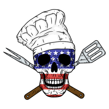 Skull in chef hat, crossed barbecue tools and American flag. Chef skull Illustration