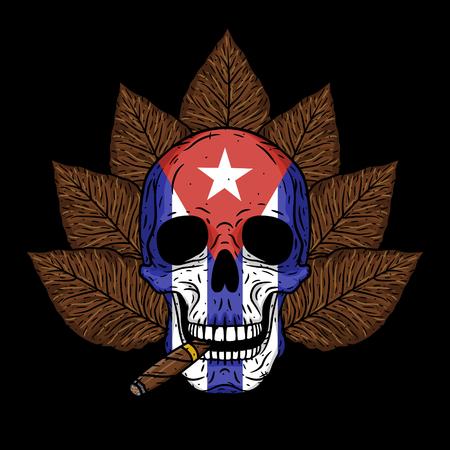 Teschio con sigaro, foglie di tabacco e bandiera cubana.
