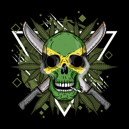 Human skull with two crossed machetes, marijuana leaf and Jamaican flag in hand drawn style. Rastaman skull with cannabis leafs.