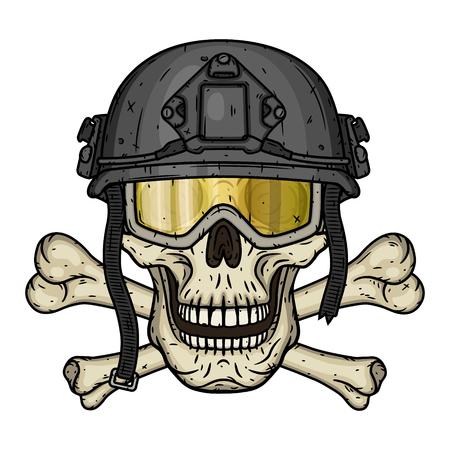 Skull in the helmet. Dead soldier. Vector illustration. Illustration