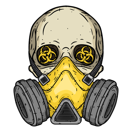 Skull. Skull with gas mask. Skull with respirator. 矢量图像