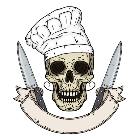 Skull in a chef hat. Cartoon skull. Chef skull with ribbon for your text.