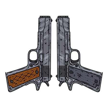 Vector pistols isolated of white background. Vector illustration