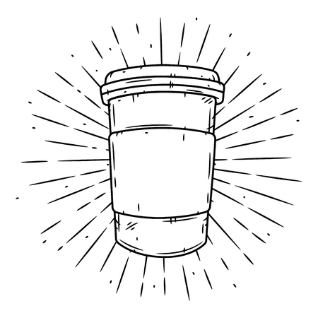 Coffee cup. Hand drawn vector illustration with coffee cup and divergent rays.