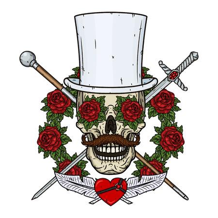 Skull. Valentine skull. The skull of the gentleman. Illustration for Valentines day.