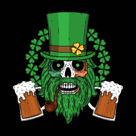 Irish skull. The skull of Saint Patricks with green hat, glass beer and clover leaves.