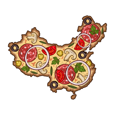 Pizza in the form of a map of China. Cartoon vector pizza. Map of China the form of pizza