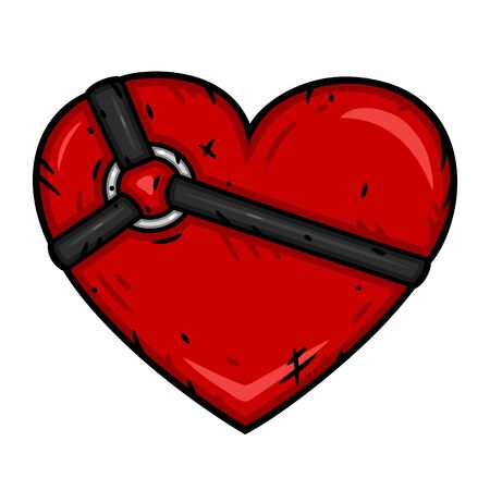 Red heart with fashion harness. Vector illustration
