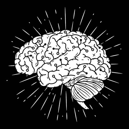 Cyber brain. Hand drawn vector illustration with brain and divergent rays.
