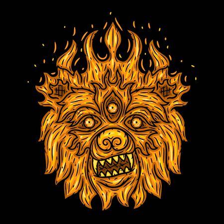 Bear head. Fire bear. Vector illustration isolated on black background