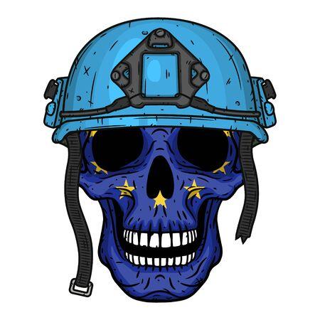 Skull with EU flag in blue helmet.