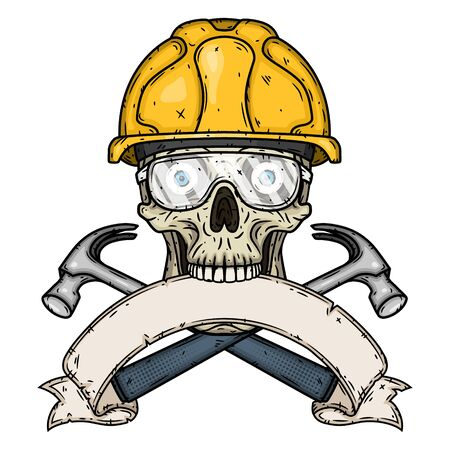 Skull Builder. Skull in helmet with two crossed hammers and ribbon for your text. Workers skull. 向量圖像