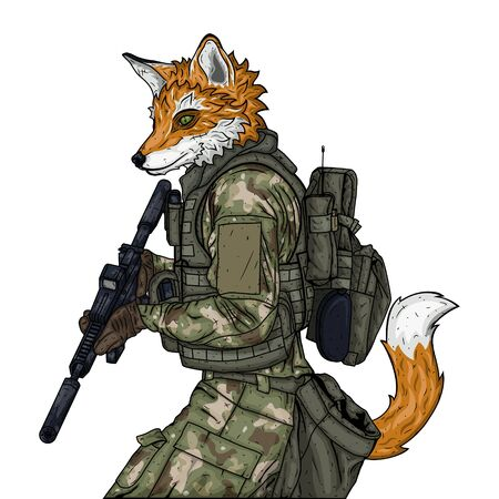Fox soldier character. Vector illustration isolated on white background.