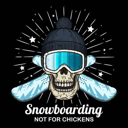 Skull in ski goggles, black cap and crossed snowboard. Cartoon skull.