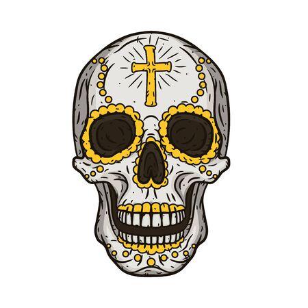 Dzień Zmarłych Czaszki. Meksykańska czaszka cukru.