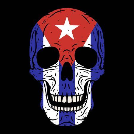 Human skull with Cuban flag isolated on black background. 向量圖像