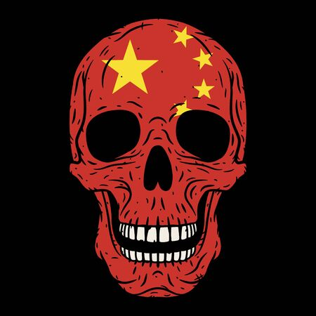 Human skull with Chinese flag isolated on black background. 向量圖像