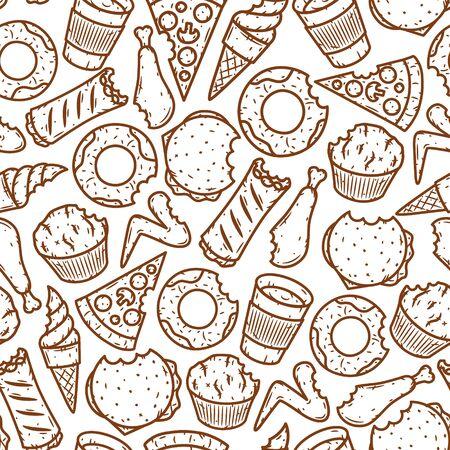 Seamless fast food pattern. Vector fast food pattern. 向量圖像