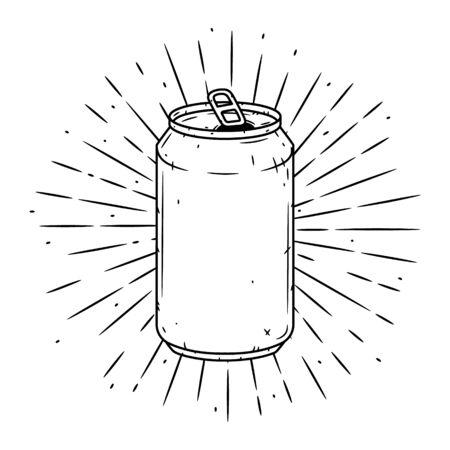 Lata de aluminio. Ilustración de vector dibujado a mano con lata de aluminio y rayos divergentes.