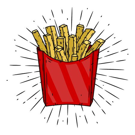 French fries in red paper box and divergent rays. 向量圖像