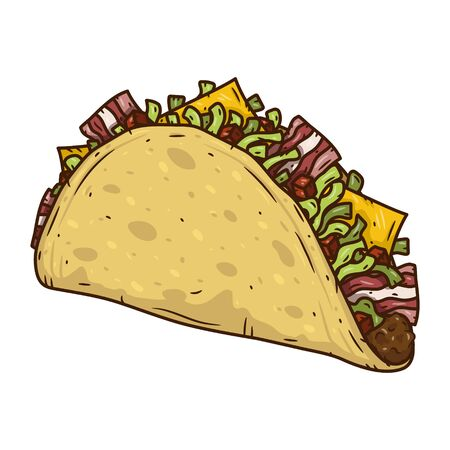 Cartoon taco drawing. Traditional Mexican food vector illustration