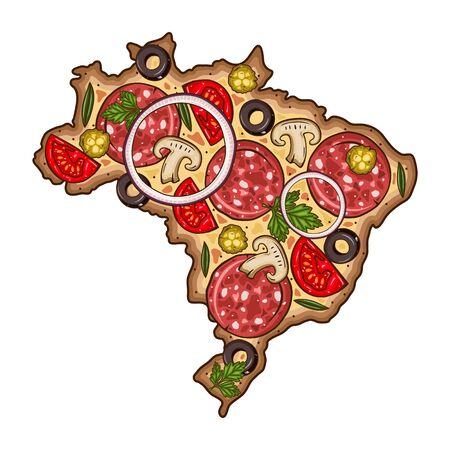 Pizza. Map of Brazil sheped pizza. Map Of Brazil