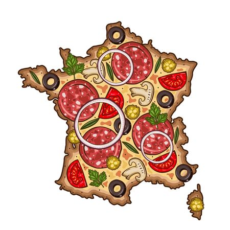 Pizza. Map of France sheped pizza. Map Of France.