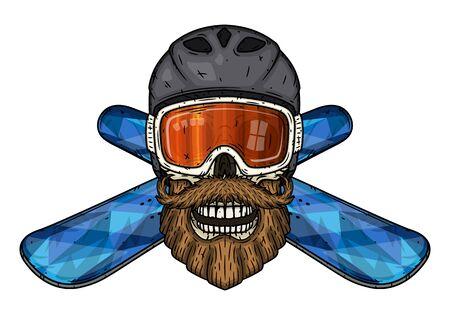 Skull. Bearded skull in sports helmet, ski goggles and crossed snowboard. Cartoon skull.