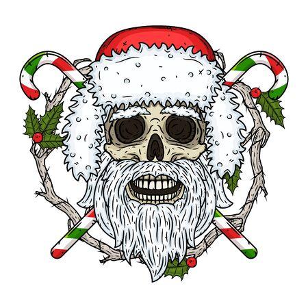 Skull. Santa claus skull. Vector illustration isolated on black background.