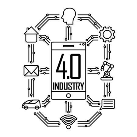 Industry 4.0 concept. Vector illustration isolated on white background Ilustração Vetorial